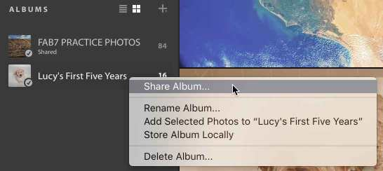 Share an Album in Lightroom CC