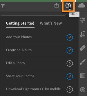 Lightroom CC Help Options