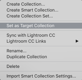 Set collection in Lightroom Classic CC as the target