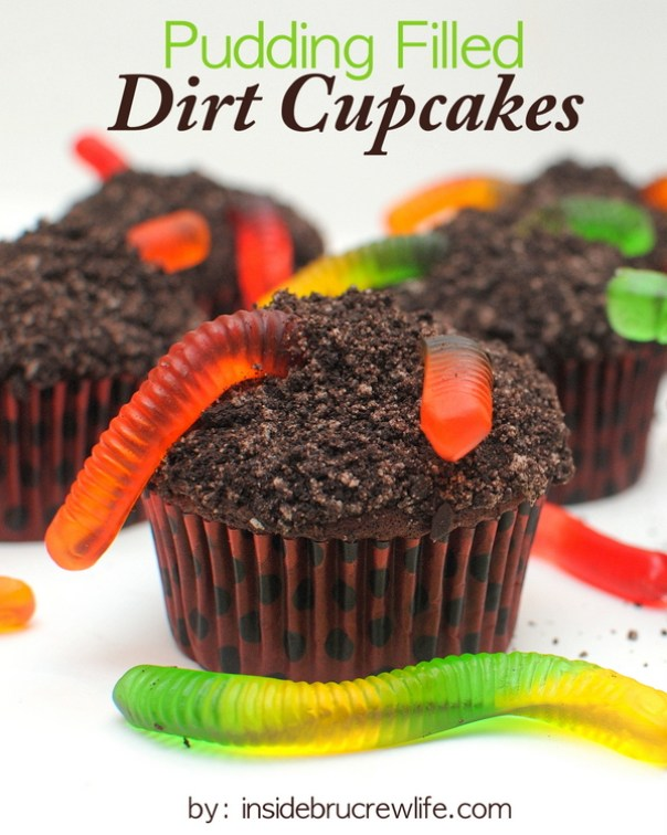 Pudding Filled Dirt Cupcakes 21 Halloween Party Treats www.lauraslittlehousetips.com