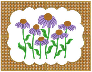Beautiful Frame #2 for the 5x7 hoop with Coneflower Impressions Design