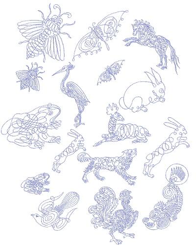 Calligraphy Animals 4x4