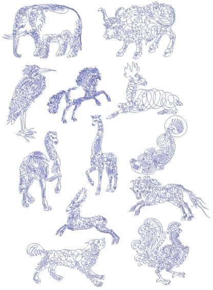 Calligraphy Animals 5x7