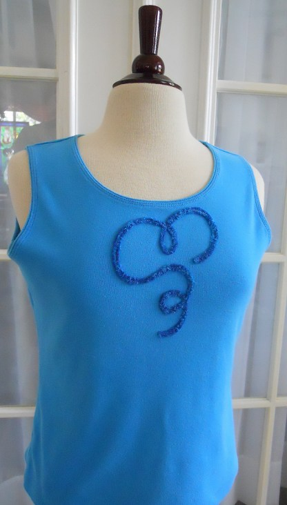 Chenille Hearts N Such Blue Tank