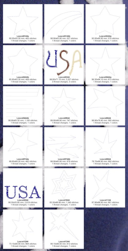 Chenille Stars 4x4 Design Details