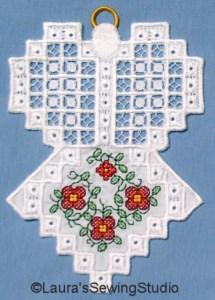 Hardanger Floral Angel Ornaments