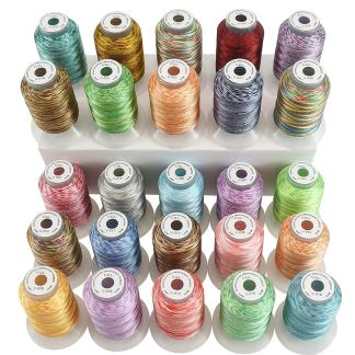 New Brothread 25 Colors Variegated Polyester Machine Embroidery Thread Kit