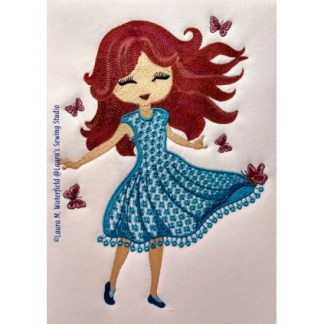 Dee, Delightful Dee, Girls, wing needle, applique, auburn, redhead, brunette, blond