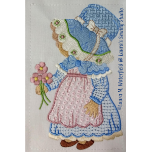 Sunbonnet Sue, Little Susie Sunbonnet Sue, Sue, wing needle machine embroidery.