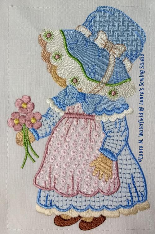 Sunbonnet Sue, Little Susie Sunbonnet Sue, Sue, wing needle machine embroidery.