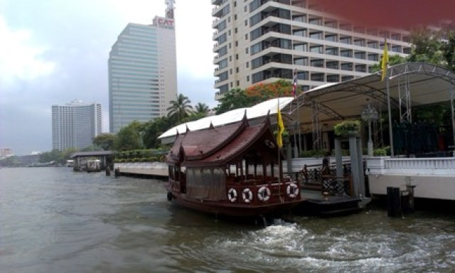Cruisin' down the Chao Phraya, beats getting stuck in traffic for 2 hours.True story.