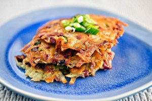 Smoked venison potato pancakes