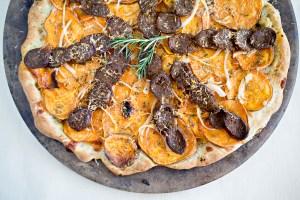 Chorizo Pizza with Sweet Potato