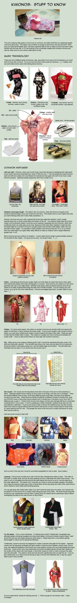 A collector of kimono gives a crash course on identifying, wearing kimono, yukata, furisode, obi, tabi, geta, zouri, obiage, obijime, eri, ohashori, juban.