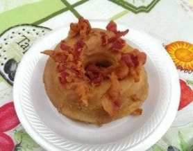 donut glazed with maple, bits of bacon crumbled on top