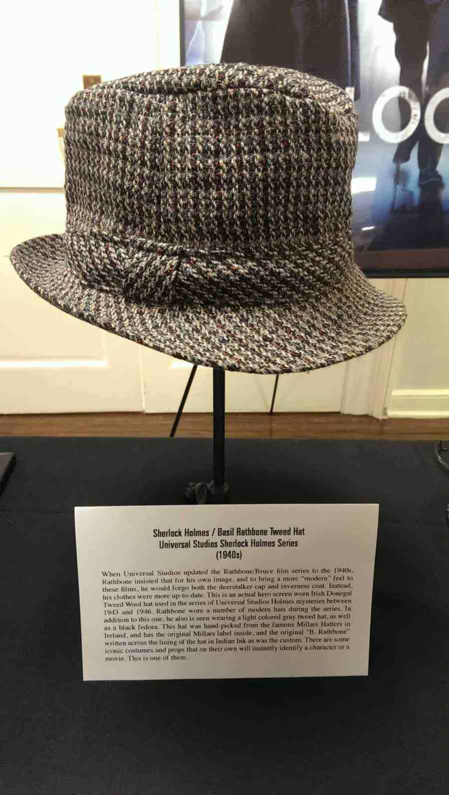 Sherlock Holmes hat for Basil Rathbone, in the updated 1940s Universal series. Irish Donegal Tweed Wool hat.