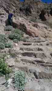 steep steps cut into desert rock