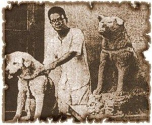 Sculptor Ando Teru and Hachiko and Hachiko
