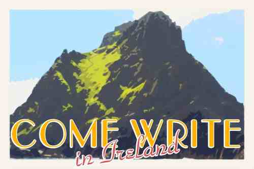 vintage travel poster style image of Skellig Michael with text Come Write In Ireland