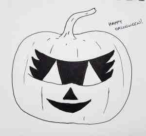 inked drawing of masked jack o lantern