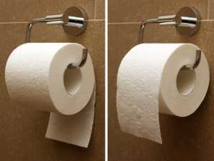 two toilet papers rolls, showing under and over
