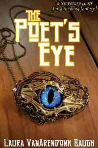 amulet with iridescent blue eye lying on wooden table, title The Poet's Eye