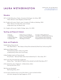 Laura Wetherington's CV