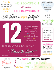 "Printable: 12 Alternatives to saying ""Praise the Lord"""