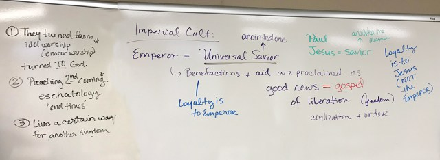 Image of whiteboard in classroom.
