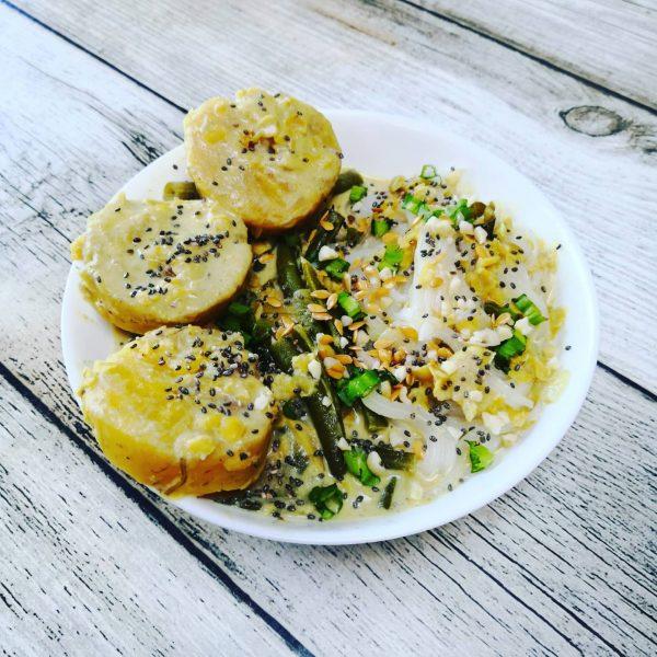 Curry de haricots verts, lentilles corail et bananes plantain  Végétarien / Végan