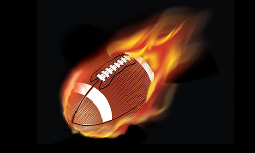 football with flames laurel
