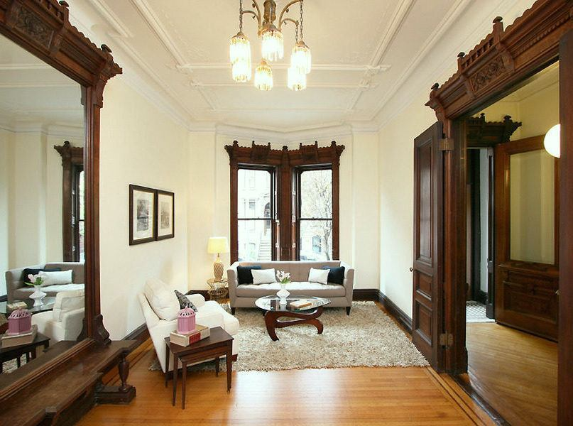paint colors for living rooms with white trim room decorating brown leather furniture the stained wood stays 16 wall to make it sing can you walls brooklyn townhouse dark