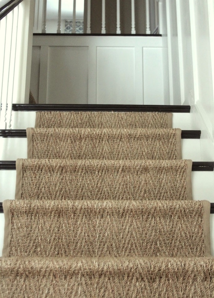 A Bad Fiber For A Stair Runner A Difficult Staircase Laurel Home   Herringbone Carpet On Stairs   Edgecomb Gray   Design   High Traffic   Commercial   Light Grey Grey