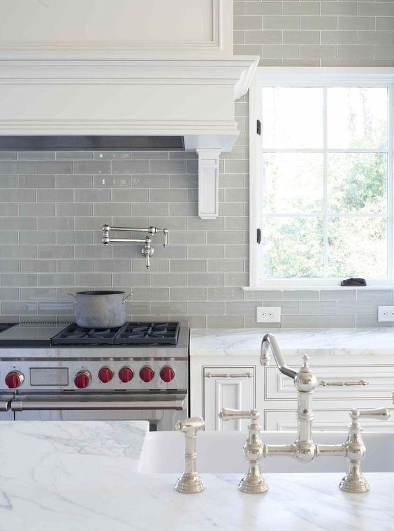 gray subway tile kitchen backsplash