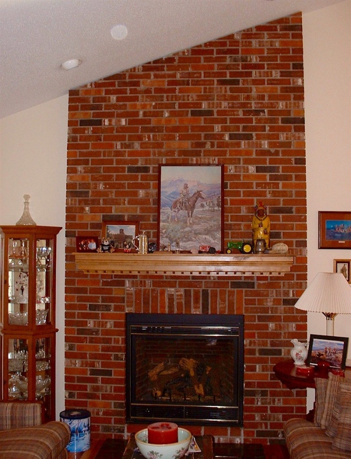 small living room ideas with brick fireplace dark brown leather sofa my husband loves our ugly laurel home