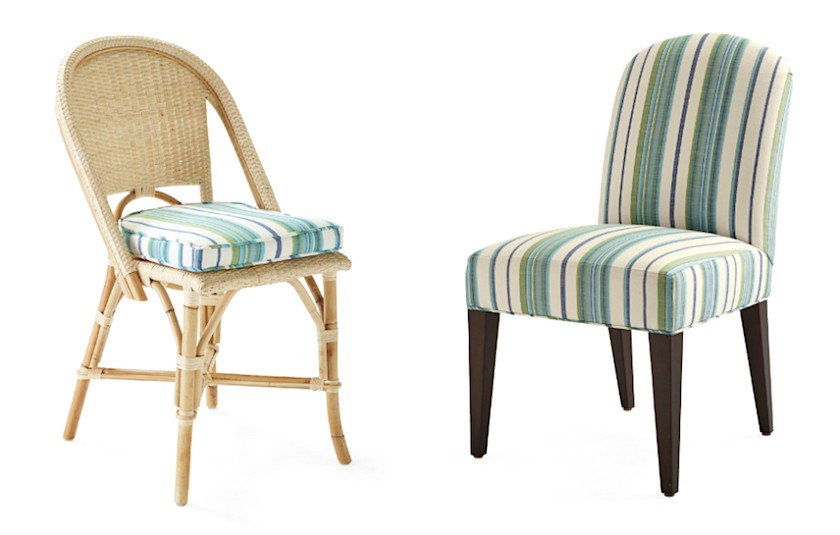 fabrics for kitchen chairs gold desk chair the best upholstery and some you should never use laurel home serena lily dining with perennials stripe outdoor fabric
