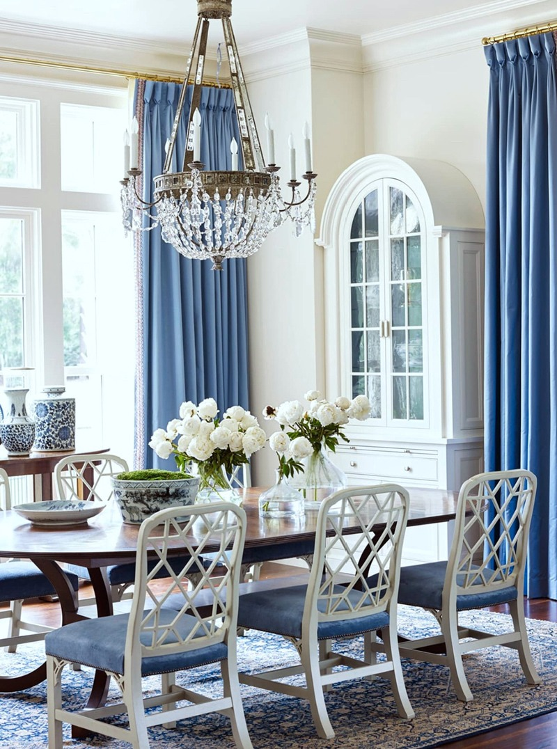 blue and white dining chairs chair gym exercise routine suzanne kasler room with hickory brunschwig fabric oriental rug