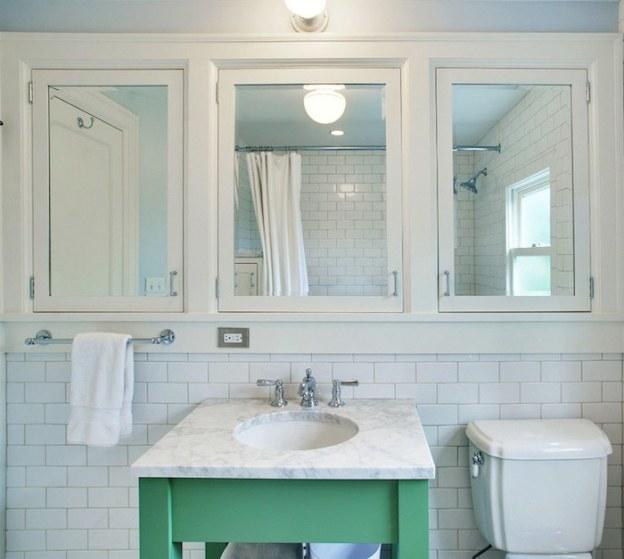 jas design build- mirrored-medicine-cabinet-bathroom-green-vanity