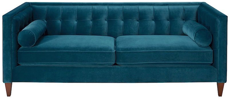 cheap teal sofas ashley furniture bed 24 and chairs that look high end laurel home harcourt tufted chesterfield sofa in