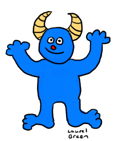 a drawing of a happy blue monster