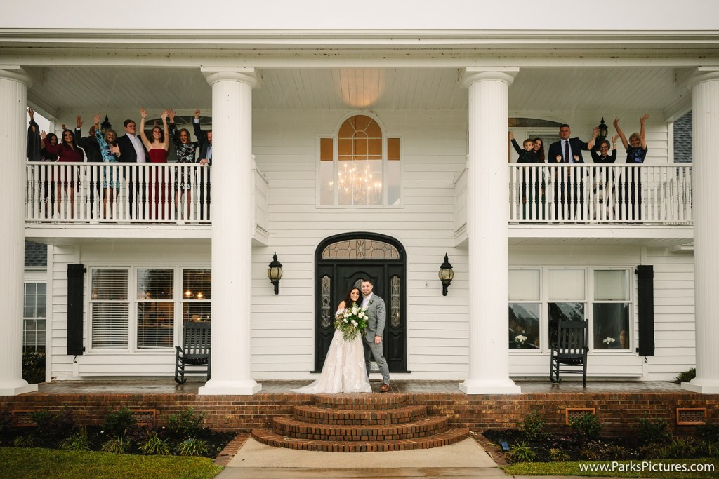 Southern wedding, family wedding picture, front porch wedding