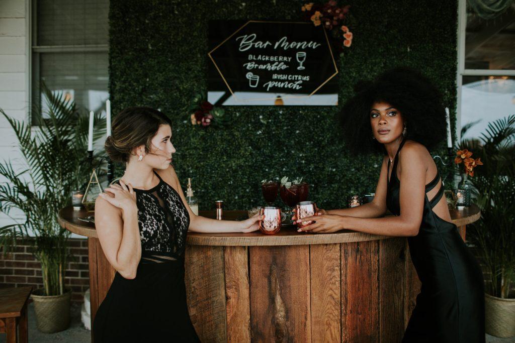 Greenery wall, wedding reception, cocktail hour