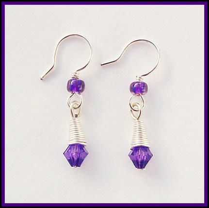 wire wrapped bead cap earrings