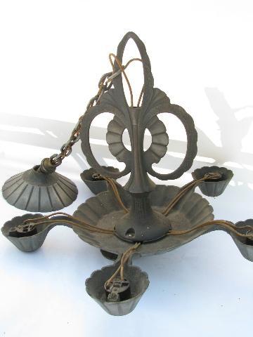 1920s Craftsman vintage cast iron lamp antique Arts