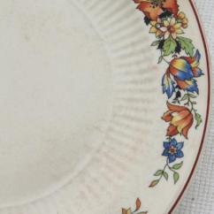 Kitchen China Dishes Shoes For Work In 1930s Vintage W Red Blue Tulips Flower Border Farm Country Table Ware