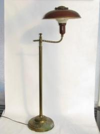 1940s vintage deep red tole floor lamp w/ metal helmet