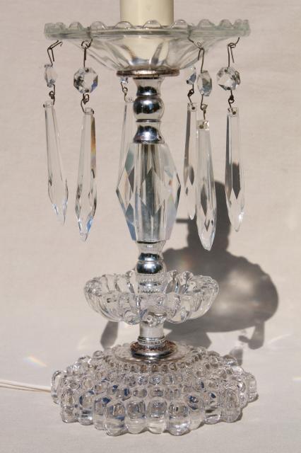 1950s 60s Vintage Glass Boudoir Lamps W Crystal Prisms Vanity Table Or Dresser Lamp Set