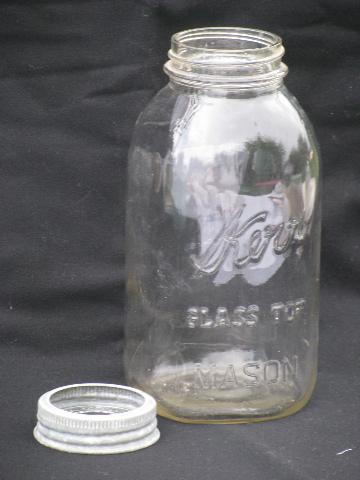 2 vintage Kerr 2 quart glass lid canning jars for storage