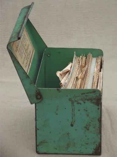 recipe card box jadite green metal w monarch flour recipes