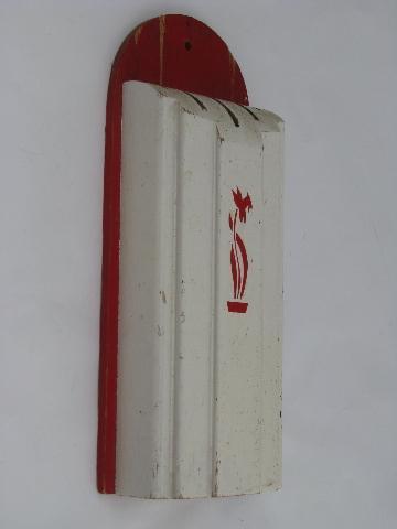 30s vintage wood wall rack knife block, wooden holder for kitchen ...